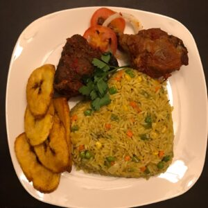 Olatee Fried Rice with dodo plntain and meat